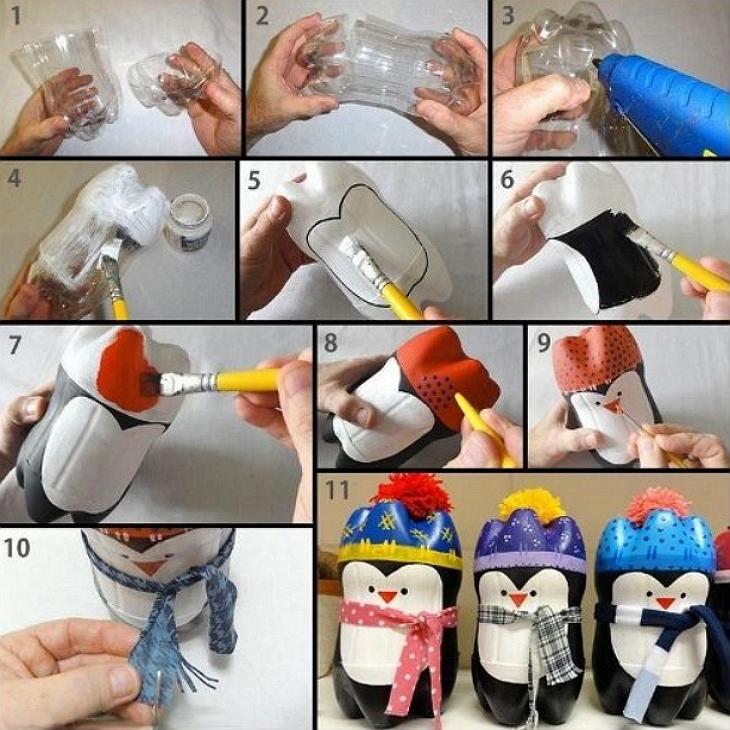 Поделки из пластиковых бутылок на новый год своими руками фото